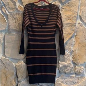 Le Chateau  Brown and Black Sweater Dress
